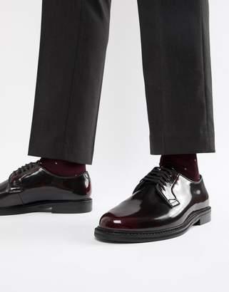 WALK LONDON WALK London Darcy lace up shoes in high shine burgundy