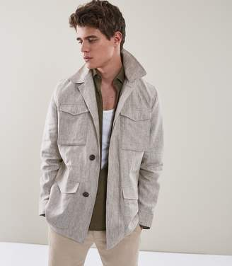 Reiss HIGHBURY Linen Field Jacket Neutral