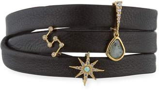 Tai Leather Wrap Charm Bracelet, Black