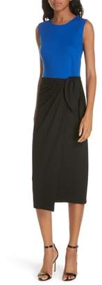 Diane von Furstenberg Colorblock Side Tie Wool Blend Sheath Dress