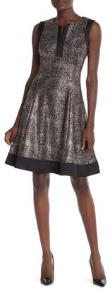 Robbie Bee Split Neck A-Line Metallic Dress