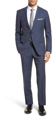 BOSS Huge/Genius Trim Fit Solid Wool Blend Suit