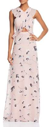 BCBGMAXAZRIA Ruffle Cross-Front Gown