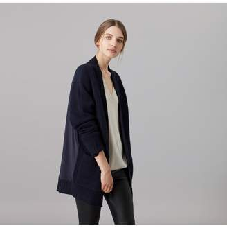 Amanda Wakeley Larson Midnight Cashmere Boyfriend Cardigan With Satin Back