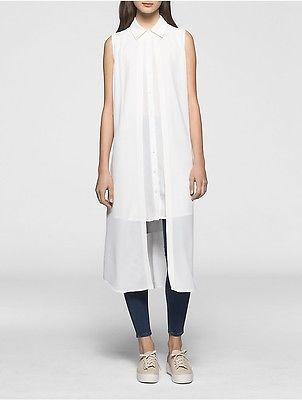 Calvin KleinCalvin Klein Womens Crepe Chiffon Double Layer Tunic Shirt