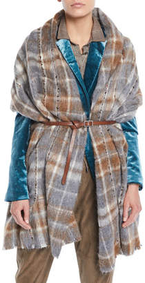 Brunello Cucinelli Blanket Plaid Cape w/ Leather Belt and Paillettes