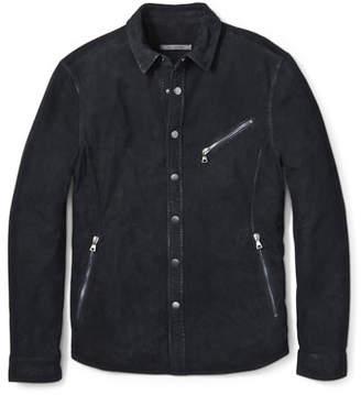 John Varvatos Men's Snap-Front Suede Shirt Jacket