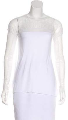 BCBGMAXAZRIA Lace-Paneled Long Sleeve Top w/ Tags
