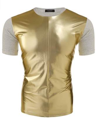 Coofandy Men's Club Wear Leather Like Short Sleeve T-shirt Cool Biker Casual Tee