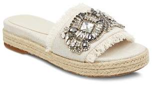 Marc Fisher Women's Jelly Embellished Linen Espadrille Slide Sandals