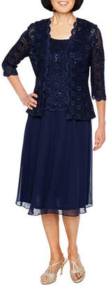 R & M Richards R&M Richards 3/4 Sleeve Lace Chiffon Jacket Dress