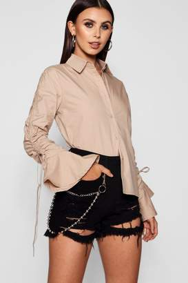boohoo Petite Drawstring Detail Sleeve Shirt