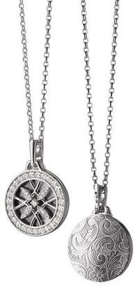 Monica Rich Kosann 18k White Gold & Diamond Gate Locket Necklace