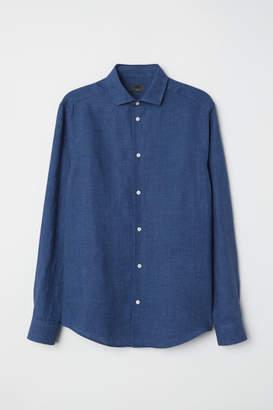 H&M Linen Shirt Slim fit - Blue