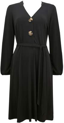 WallisWallis Black Button Shirt Dress