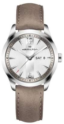 Hamilton Broadway Leather Strap Watch, 40mm