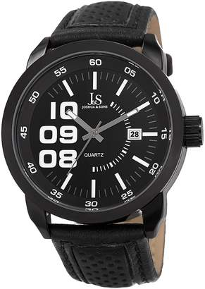 Joshua & Sons Men's Alloy & Black Dial Watch, 46mm