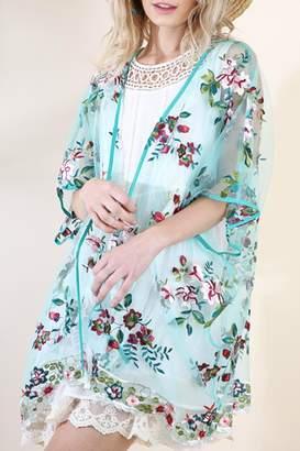 Umgee USA Floral Embroidered Kimono