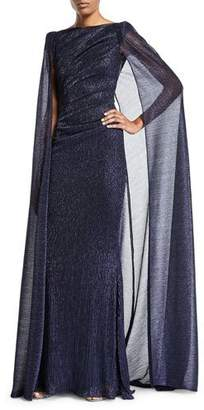 Talbot Runhof Shimmer Cape-Back Pleated-Waist Gown