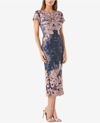 JS Collections Two-Tone Soutache Midi Dress