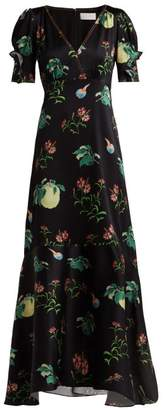 Peter Pilotto Fruit Print Silk Midi Dress - Womens - Black Multi