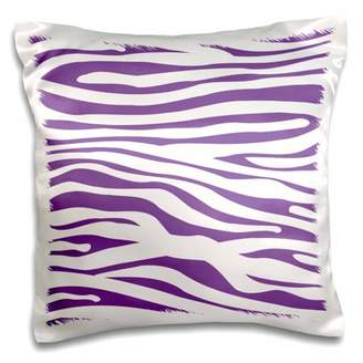 3dRose Purple and white zebra print stylish girly animal stripe pattern - cool modern trendy contemporary - Pillow Case, 16 by 16-inch