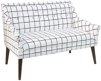 One Kings Lane Bella Tufted Settee - Windowpane Check