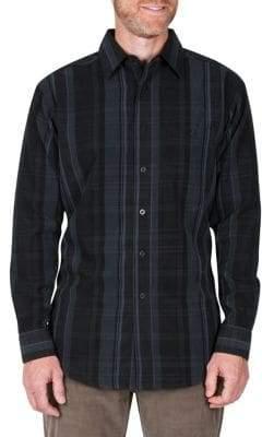Haggar Long-Sleeve Plaid Regular-Fit Button-Down Shirt