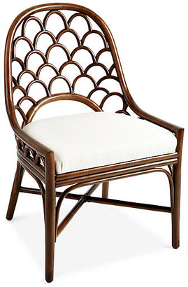 David Francis Furniture Koi Rattan Side Chair - Walnut/White Sand