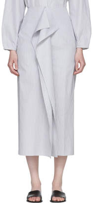 Studio Nicholson Grey and White Folded Split Skirt