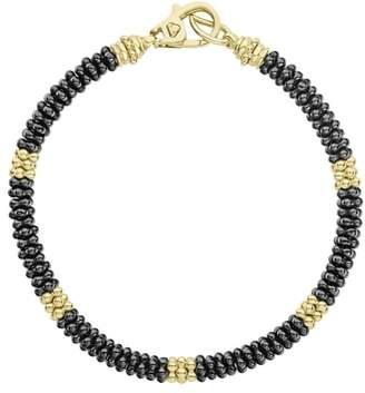 Lagos Gold & Black Caviar Beaded Station Bracelet