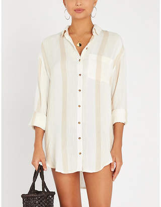 4897bf263c Sincerely Jules Billabong x contrast-striped relaxed cotton shirt