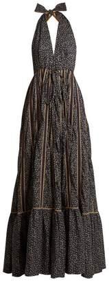 Kalita Rooftop Runway Cotton Halterneck Maxi Dress - Womens - Navy Multi