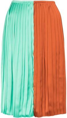 Plan C colour-block pleated midi skirt