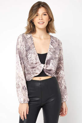 Olivaceous Snake Print Crop Top