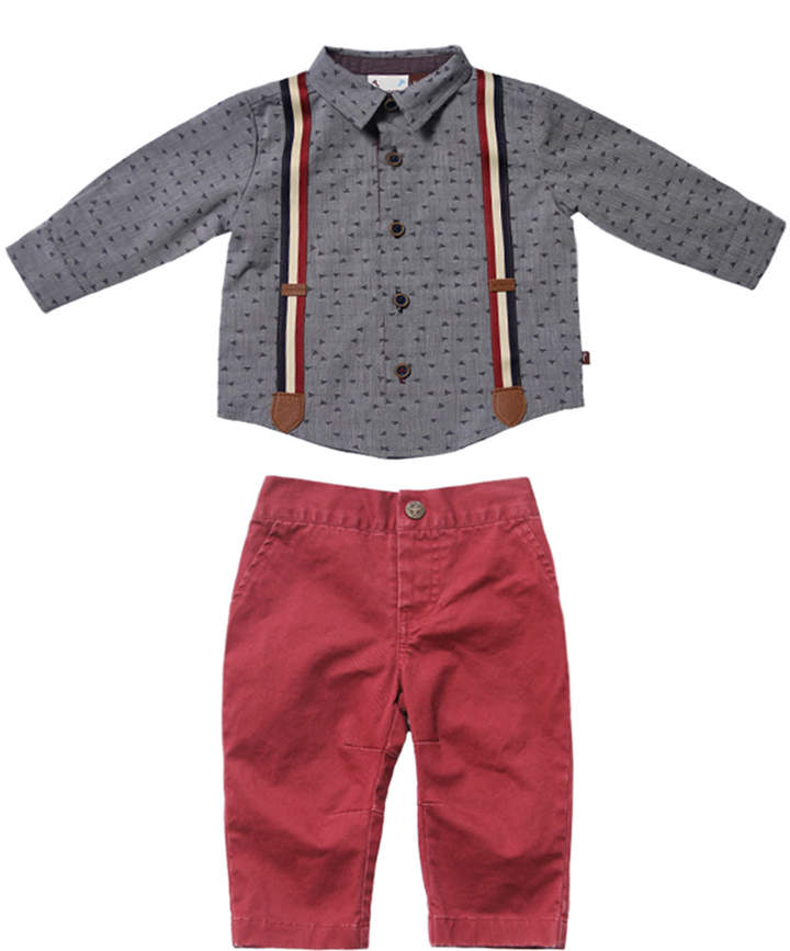 Fore Confetti Dress Shirt w/ Twill Pants, Size 6-24 Months