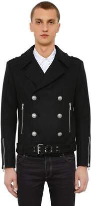 Balmain Double Breasted Wool Blend Biker Jacket