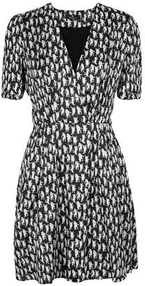 Paul Smith Black Cat-print Satin Crepe Dress