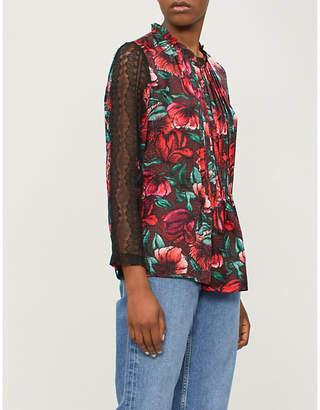 Sandro Lace-sleeve floral-print satin blouse