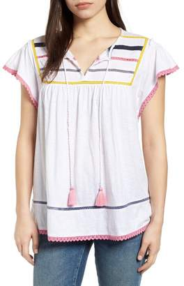 Caslon Embroidered Inset Knit Top (Regular & Petite)