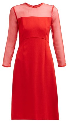 Goat Flavia Contrast Panel Wool Crepe Dress - Womens - Red