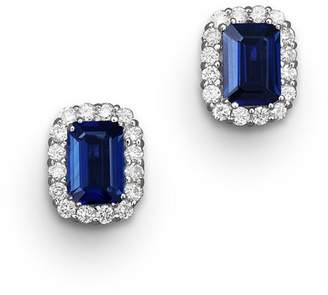 Bloomingdale's Blue Sapphire and Diamond Halo Stud Earrings in 14K White Gold - 100% Exclusive