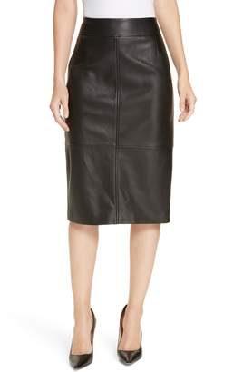 BOSS Selrita Lambskin Leather Pencil Skirt