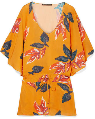 Vix Tulum Floral-print Voile Tunic - Orange