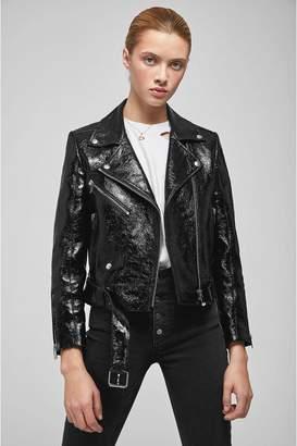 Anine Bing Jett Leather Jacket - Black Patent