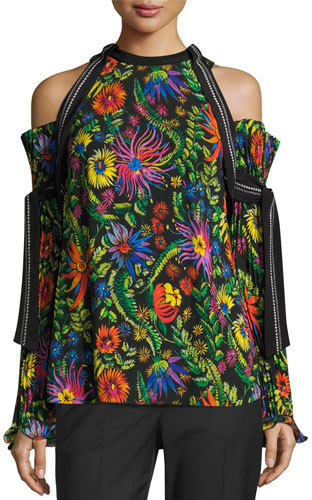 3.1 Phillip Lim3.1 Phillip Lim Floral Cold-Shoulder Top w/ Pleated Sleeves, Black/Multicolor