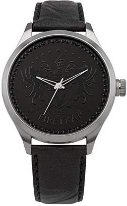 Firetrap Ladies Quartz Watch with Black Dial Analogue Display and Black Leather Strap FT1079B