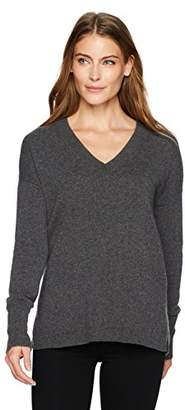 Lark & Ro Women's 100% Cashmere 12-Gauge Slouchy V-Neck Pullover Sweater