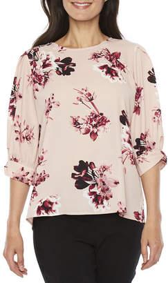 WORTHINGTON Worthington Long Sleeve Round Neck Georgette Floral Blouse-Petite