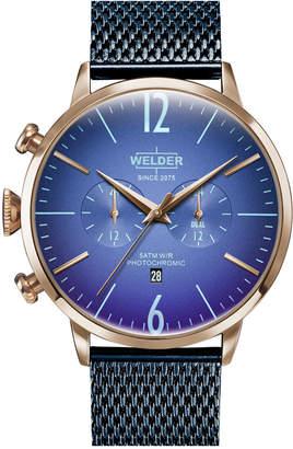 Welder Men Blue Stainless Steel Mesh Bracelet Watch 45mm